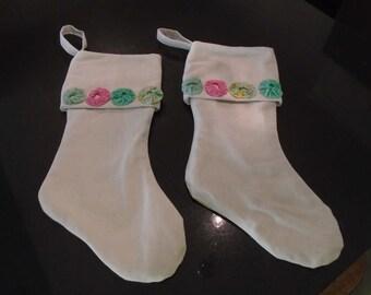 Vintage yo yo fabric/painter's cloth Christmas stockings