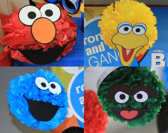 Sesame Street Birthday Party Decoration 12 Printable DIY Cutout Face Templates for pompoms or balloons! Elmo Cookie Monster Big Bird