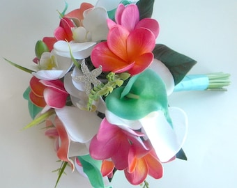 Beach Bridal Bouquet in Guava, Coral, Fuchsia  Aqua Green and White with Real Touch Plumeria,  Calla Lilies and Orchids