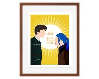 "Eternal Sunshine of the Spotless Mind minimalist print: ""I need your loving like the sunshine"""