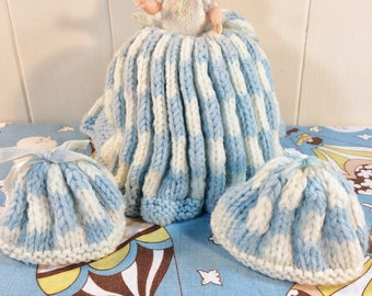Vintage 1960s Tea Cosy Doll & 2 Egg Cosies Hand Knitted Baby Hard Plastic
