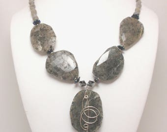 Granite Stones with Sterling Silver Wire Wrapped Pendant, Shades of Gray Agate, Swarovski Crystals
