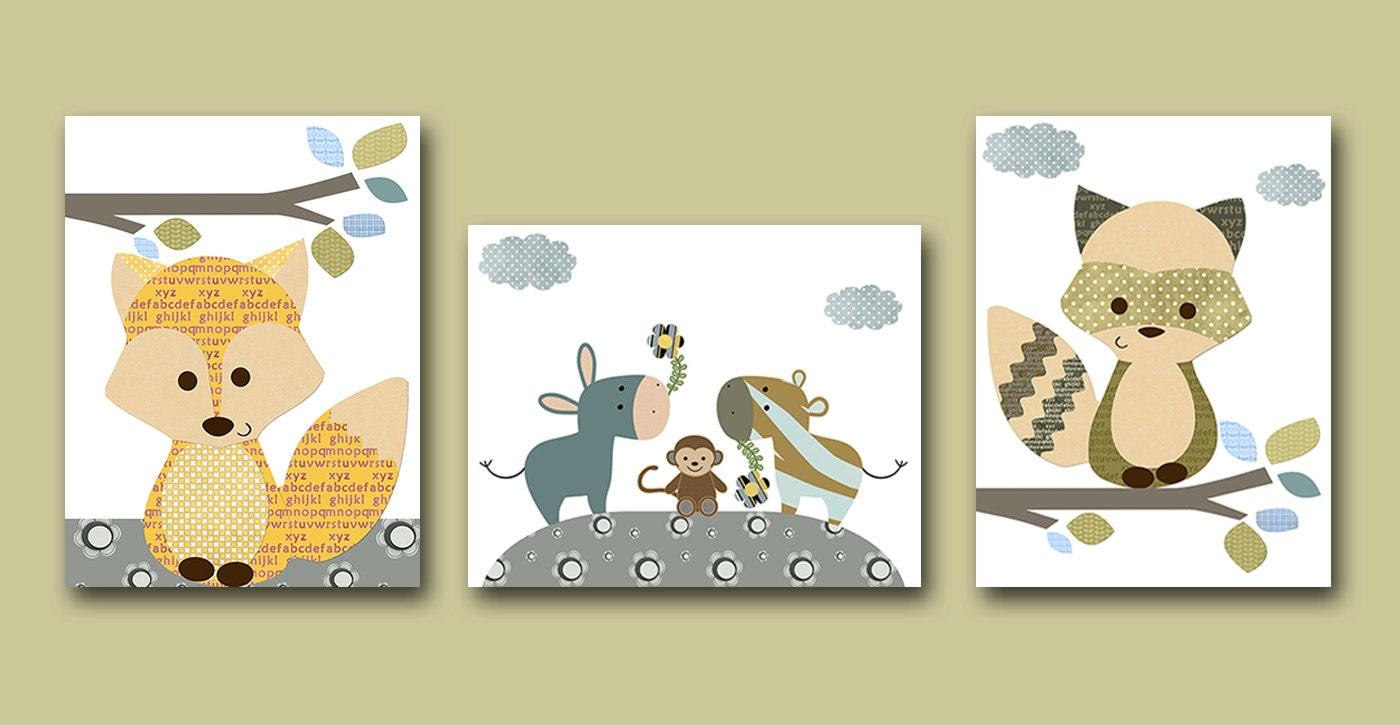 Canvas Art Fox Nursery Art Print Childrens Wall Art Baby