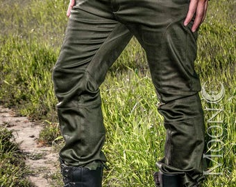 "NEW: Men's ""Gahan"" Sateen Rivet Pants in Black or Olive Green by Opal Moon Designs (Sizes 30, 34, 38 waist)"