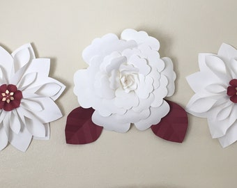 Set of 3 all white paper flowers with burgundy accent