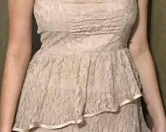 Laced Strapless Pink Dress by Ruby Rox Size 9 Vintage Party Dress