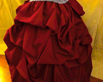 Bright red Bustle Pick-up Skirt Victorian Steampunk Burgundy Red Cotton Small Thru XXL or Custom Sized