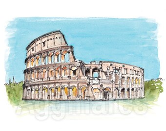Rome Colosseum Italy / art print from an original watercolor painting