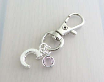 Letter Bag Charm, Personalised Birthstone Purse Clip, Custom Silver Initial Handbag Charm, Birthstone Crystal Zipper Pull, Name Gift