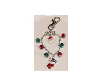 Natural Red Coral and Malachite Christmas Accessory