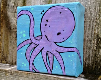 octopus painting on 4 x 4 canvas