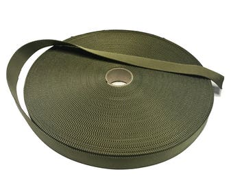 "5 Metres - Light Olive 25mm / 1"" Webbing - UK Woven - Military Specification"