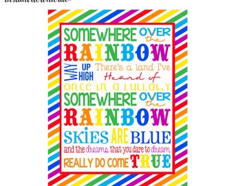 Somewhere over the Rainbow 8x10 and 11x14 digital you print your own- INSTANT DOWNLOAD