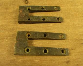 Antique Card Table Hinges Pair Brass 1820 1830 Vintage Furniture Parts