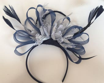 Navy Blue Hoop & Silver Feathers Fascinator On Headband