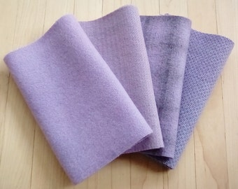 """Hand Dyed Felted Wool, LILAC, Four 6.5"""" x 16"""" pieces in Pastel Purple, Perfect for Rug Hooking, Applique', and Crafts"""