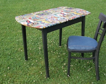 Upcycled Graphite Waxed Finish - Child's Desk & Chair - Marvel Super Hero Design