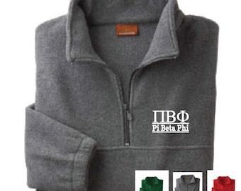 Pi Beta Phi // Pi Phi // Sorority Embroidered Fleece Quarter Zip Jacket // Pullover