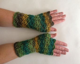 Fingerless gloves, Handwarmers, Unique gloves, armwarmers, wristwarmers, green yellow gloves, mismatch gloves, mismatch armwarmers