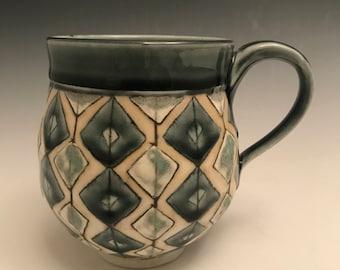 Large handmade porcelain mug in gray diamonds