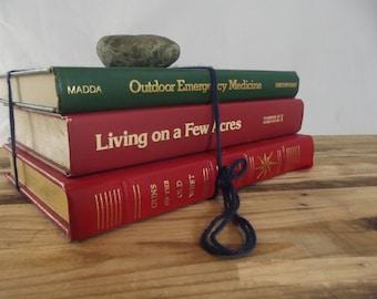 Set of Vintage Books Homestead Survival Hardcover Decor