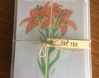 Hand-Sketched Western Red Lily Flat-Front Notecard Set/Blessing