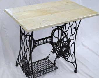 Vintage Singer Sewing Machine Treadle Table with Barnwood Top -- Custom Options Available