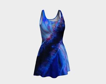 Blue Sundress/Blue/Summer Dress/ Wearable Art/ Dress/Burst of Blue/Flare Dress/Made to Order