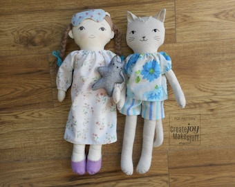 "For 18"" Doll & Cat - Sleep Set Sewing Pattern - Pajamas - Nightgown - Slippers - Mask - PJs - Dress up - Rag doll"