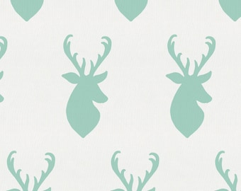 Mint Deer Head Organic Fabric - By The Yard - Gender Neutral / Deer / Fabric