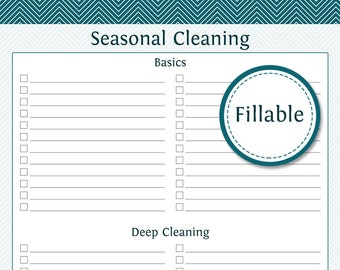 Seasonal Cleaning Checklist - Fillable - Prefilled and empty version included - Printable PDF - Instant Download - Cleaning Checklist
