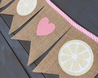 Pink & Yellow Lemonade Stand Burlap Bunting Pennant Banner for First Birthday Party, Nursery, Baby Shower, Bridal Shower or Photo Prop