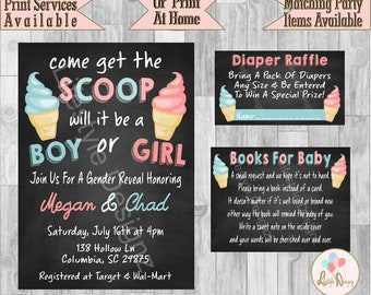 Ice Cream Gender Reveal Invitation - Get The Scoop - Pink  And Blue - Summer Gender Reveal - Ice Cream Invitation