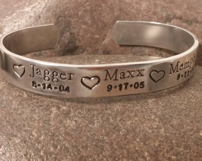 Hand Stamped Cuff Bracelet with Names and Birthdays