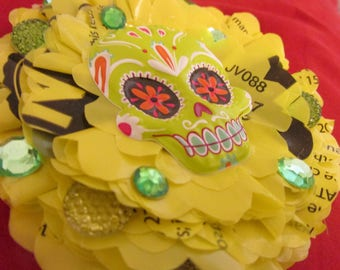 Sugar Skull Flower Hair Clip