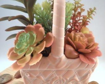 """Colorful Artificial Succulent Garden Potted Arrangement from Succulent Perrydise - 7"""" W x 5"""" D x 10-1/2 T"""" - 10 Plants"""