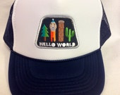 Youth Navy Blue Trucker Hat-hello world patch- Kids Tru...