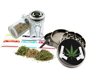 "Leaf Design - 2.5"" Zinc Alloy Grinder & 75ml Locking Top Glass Jar Combo Gift Set Item # G50-82515-9"