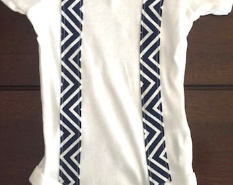 Blue Chevron Onesie with Suspenders and Bow Tie