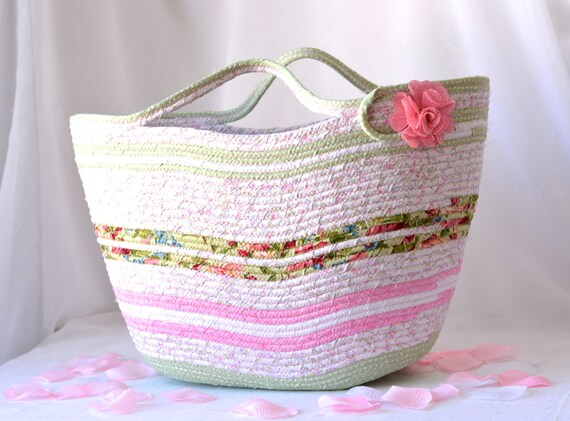Artisan Tote Bag, Pretty Floral Basket, Shabby Chic Handled Basket, Knitting Project Bag, Handmade Quilted Gift Basket