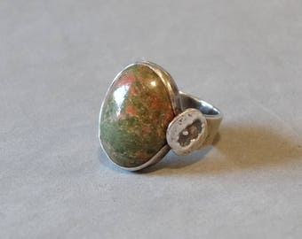 Vintage Unakite Ring Sterling Silver Green Pink Marbled Gemstone Size 5.5 Handmade Cast Flowers Unique Design Jewelry