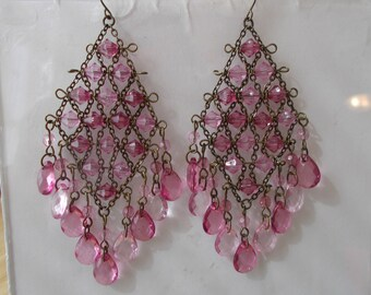 Dark Silver Tone Layered Earrings with Pink Teardrop Bead Charms