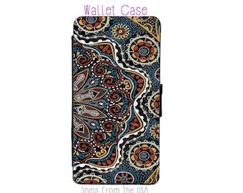 Navy Blue Mandala iphone 7 Case , iphone 7 case , iphone 7 Wallet Case , iphone 7 , iPhone 7 Wallet