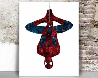 Spiderman art print, Spiderman poster, Superhero wall art, Marvel, minimalist, Comic art, Home Decor Kids room Gift for men FamouStars