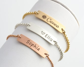 Personalized Baby Bracelet, Baby Gift, Baptism Bracelet, Gold Baby Bracelet, Engraved Bar Bracelet, Baby Girl Gift, Flower Girl Bracelet