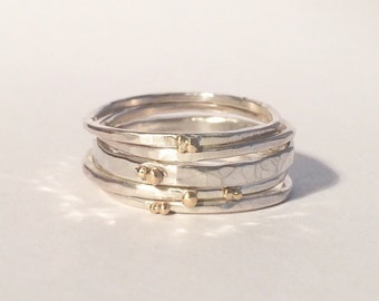 Silver Stacking Rings with Silver and Gold Berries