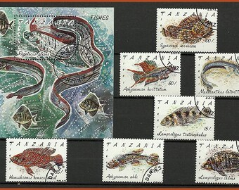 Fish postage stamps from Tanzania