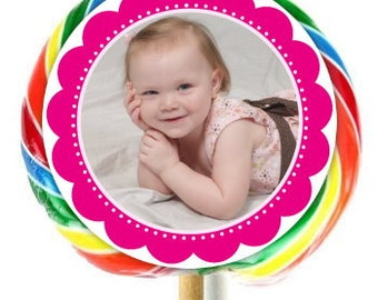 Photo Birthday Labels, Lollipop Stickers, Birthday Decoration Stickers, Extra Large Personalized Stickers, Fit on WHIRLY LOLLIPOPS