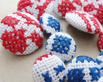 Fabric Covered Buttons -  Embroidered cotton - 14pc
