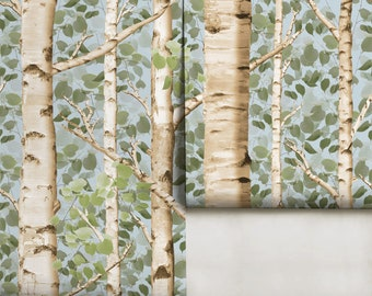Large Scale Summer Birch Peel 'n Stick or Removable Wallpaper